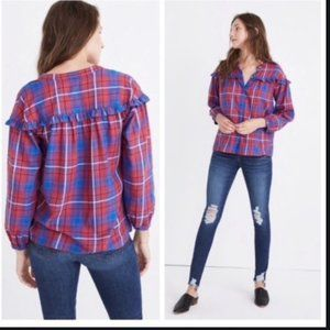 Madewell Plaid Ruffle Shirt EUC Size XXS